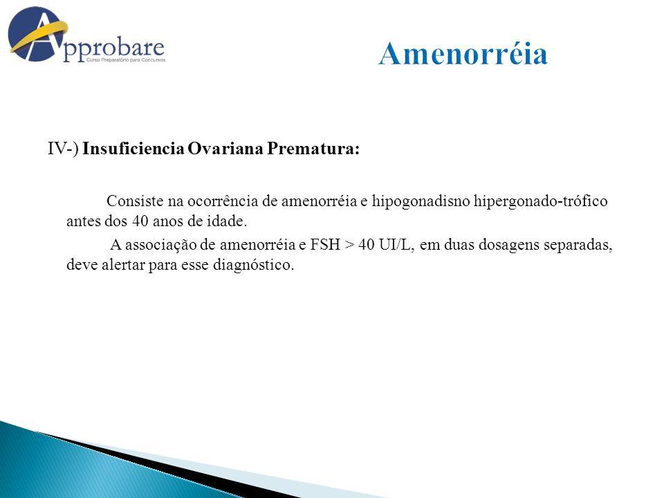 Amenorréia IV-) Insuficiencia Ovariana Prematura: