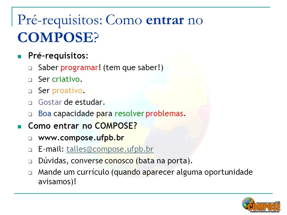 Pré-requisitos: Como entrar no COMPOSE