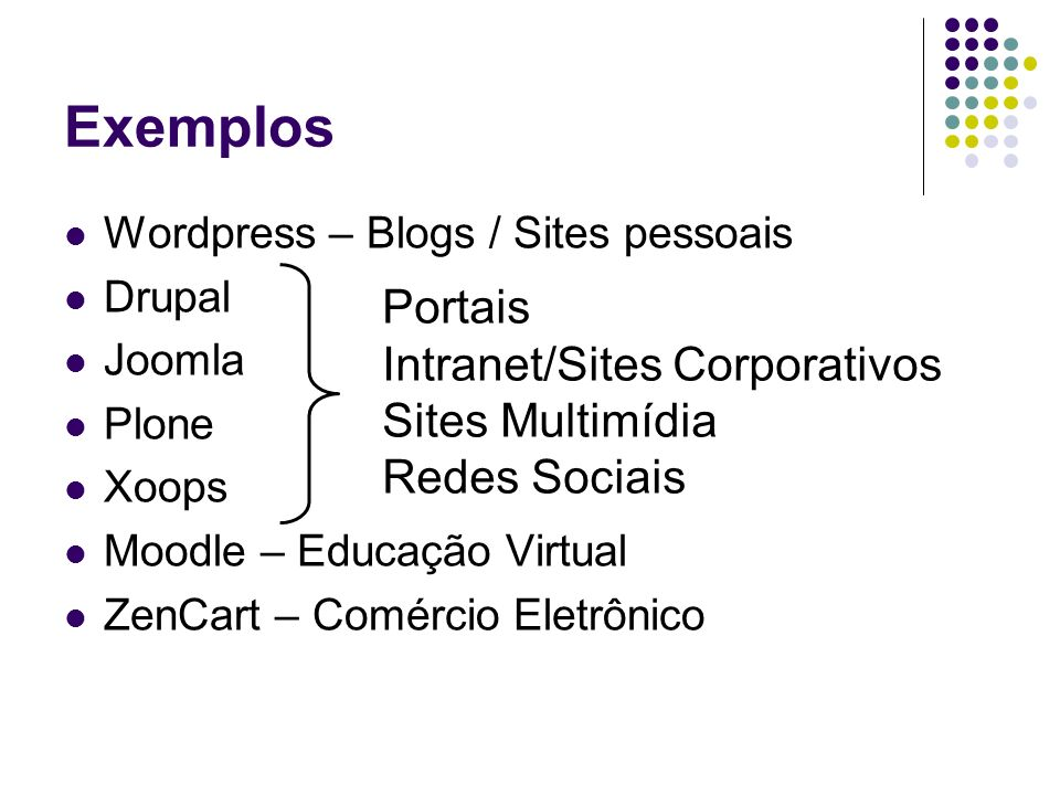 Exemplos Portais Intranet/Sites Corporativos Sites Multimídia