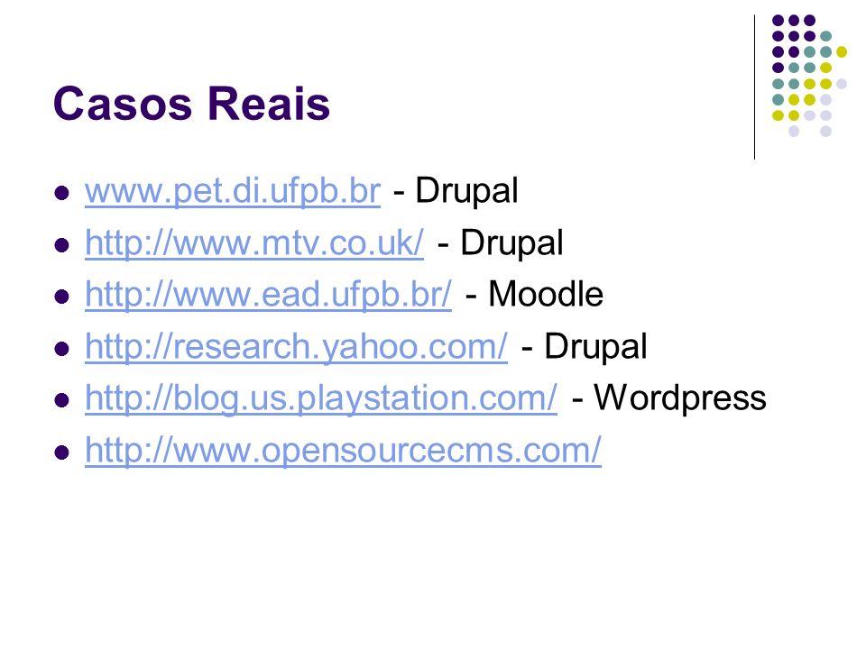 Casos Reais www.pet.di.ufpb.br - Drupal http://www.mtv.co.uk/ - Drupal