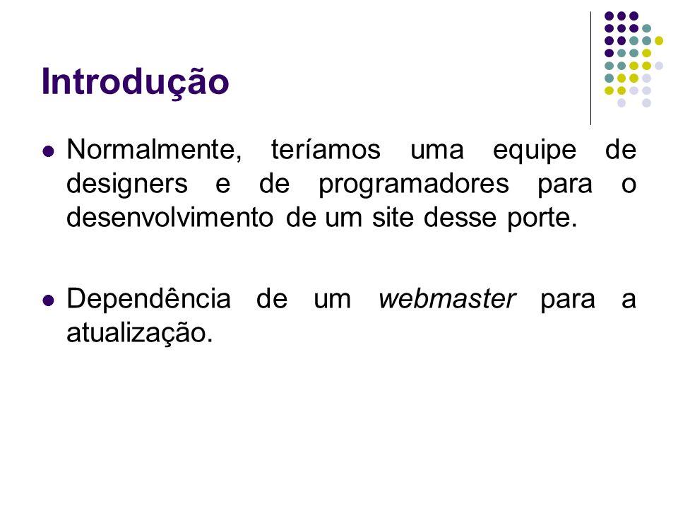 Introdução Normalmente, teríamos uma equipe de designers e de programadores para o desenvolvimento de um site desse porte.