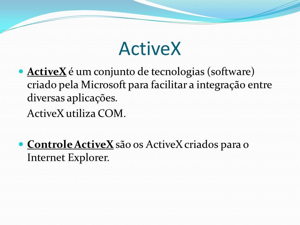 ActiveX ActiveX é um conjunto de tecnologias (software) criado pela Microsoft para facilitar a integração entre diversas aplicações.