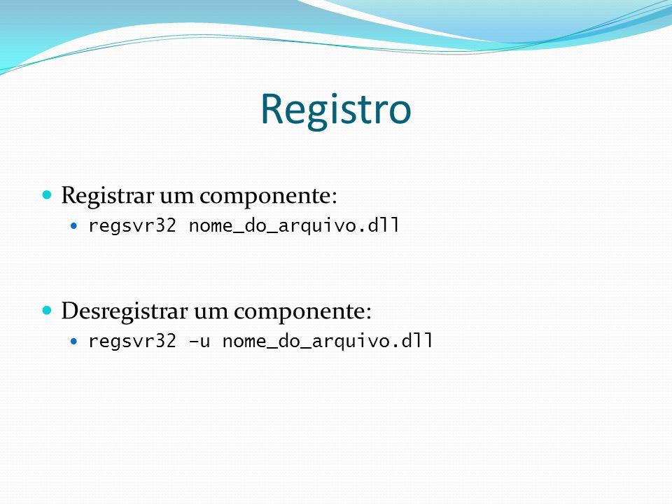 Registro Registrar um componente: Desregistrar um componente: