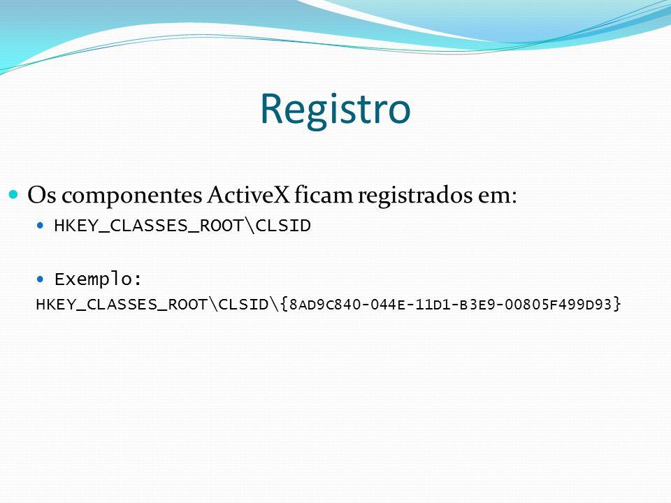 Registro Os componentes ActiveX ficam registrados em: