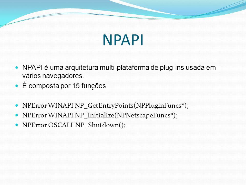 NPAPI NPAPI é uma arquitetura multi-plataforma de plug-ins usada em vários navegadores. É composta por 15 funções.
