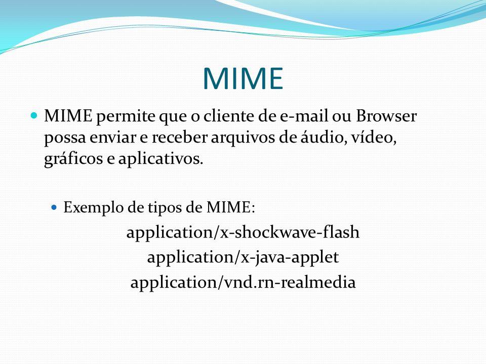 MIME MIME permite que o cliente de e-mail ou Browser possa enviar e receber arquivos de áudio, vídeo, gráficos e aplicativos.