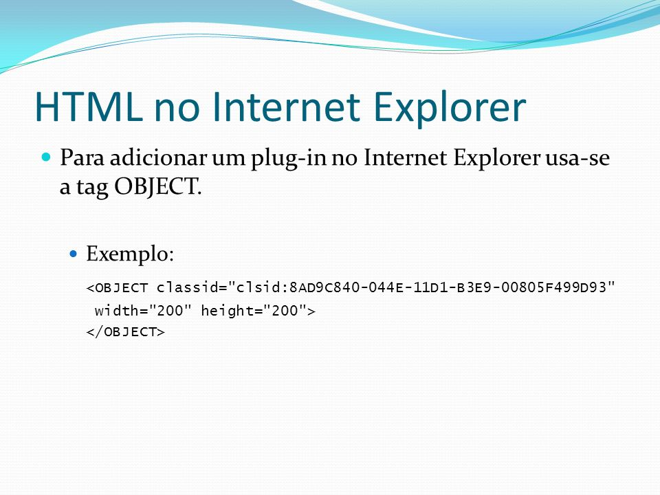 HTML no Internet Explorer