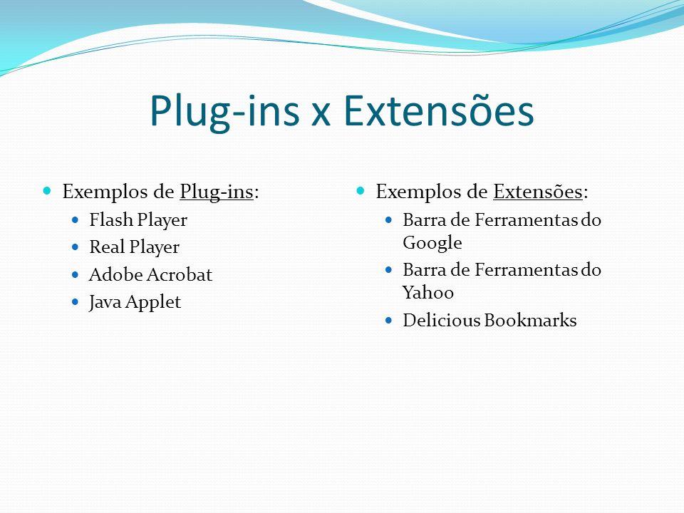 Plug-ins x Extensões Exemplos de Plug-ins: Exemplos de Extensões: