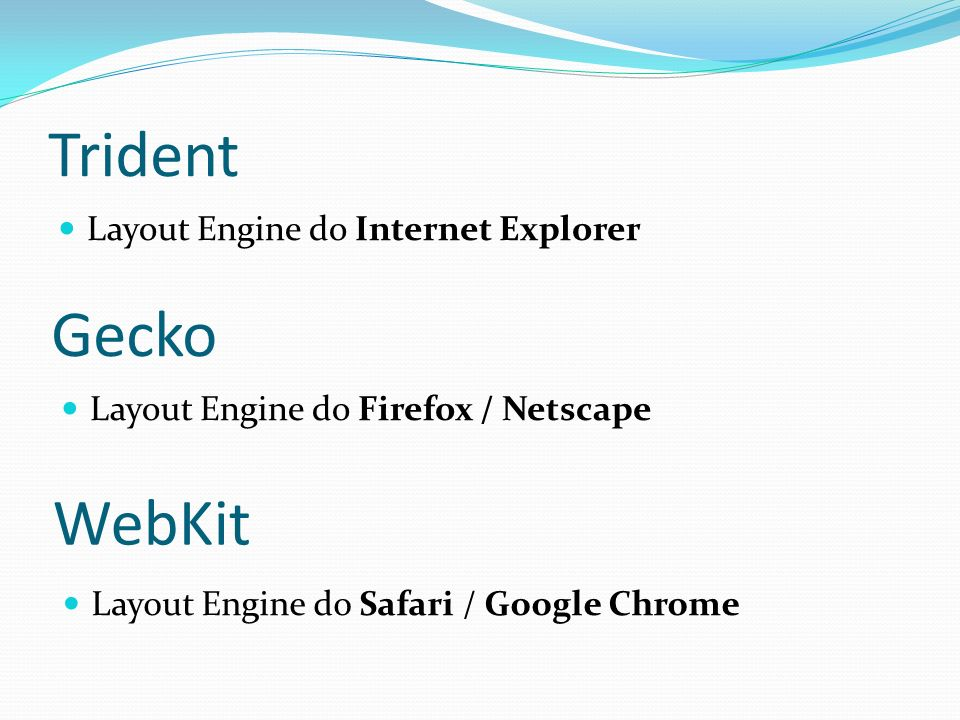Trident Gecko WebKit Layout Engine do Internet Explorer