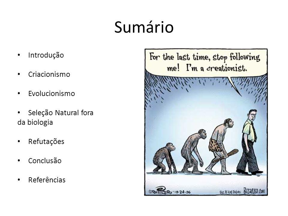 Sumário Introdução Criacionismo Evolucionismo Seleção Natural fora