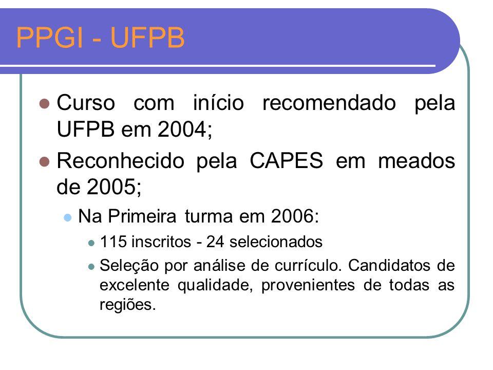 PPGI - UFPB Curso com início recomendado pela UFPB em 2004;