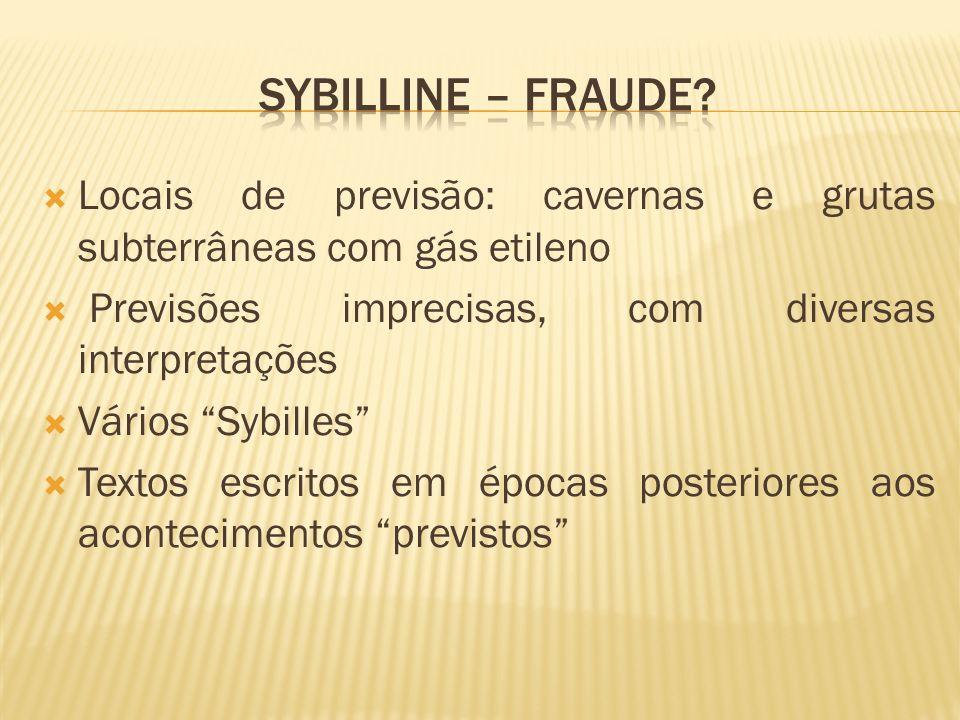 Sybilline – fraude Locais de previsão: cavernas e grutas subterrâneas com gás etileno. Previsões imprecisas, com diversas interpretações.