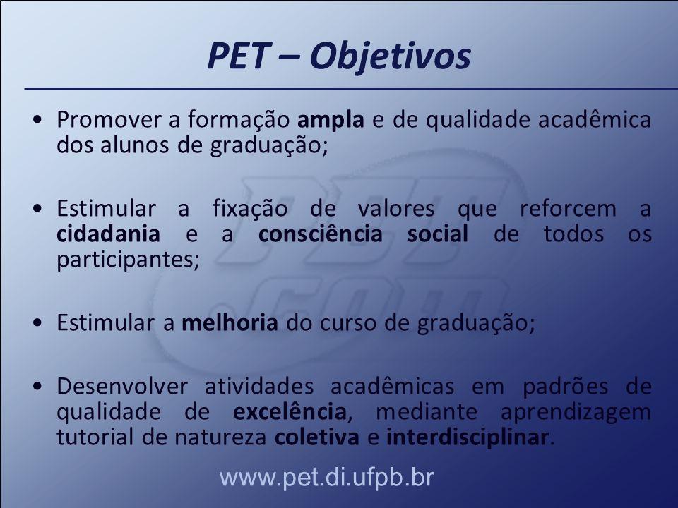 PET – Objetivos Promover a formação ampla e de qualidade acadêmica dos alunos de graduação;
