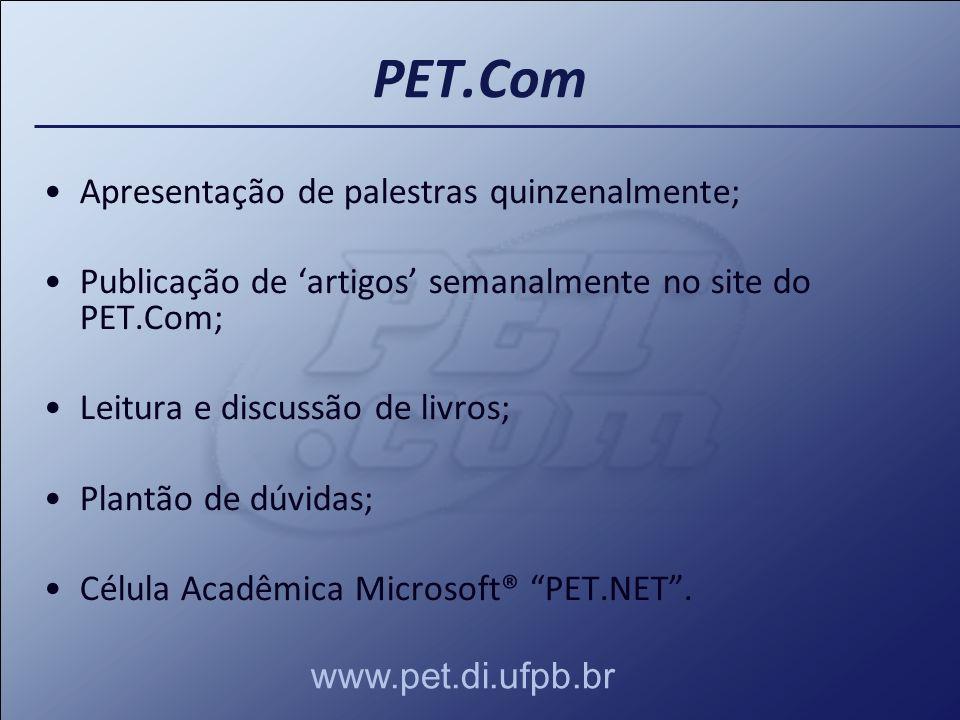 PET.Com Apresentação de palestras quinzenalmente;