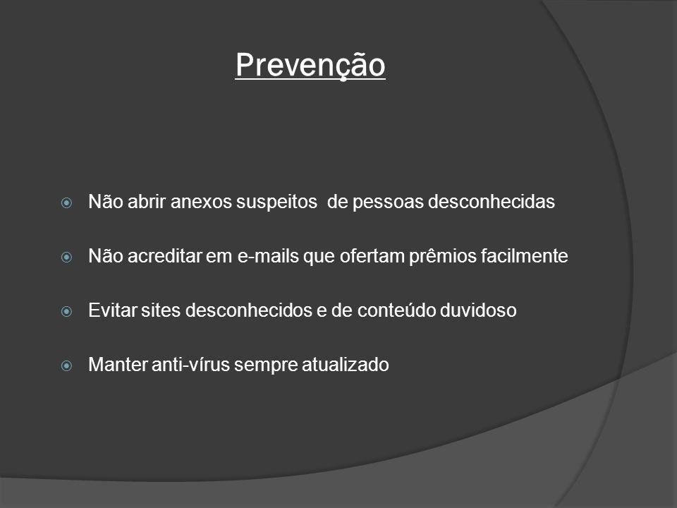 Prevenção Não abrir anexos suspeitos de pessoas desconhecidas