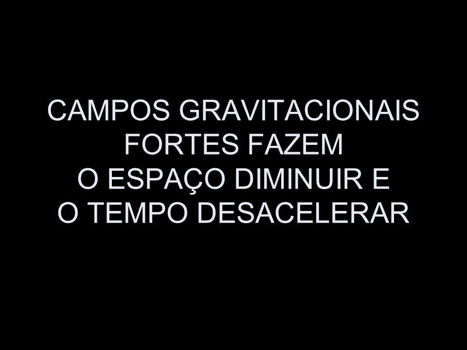 CAMPOS GRAVITACIONAIS FORTES FAZEM O ESPAÇO DIMINUIR E O TEMPO DESACELERAR