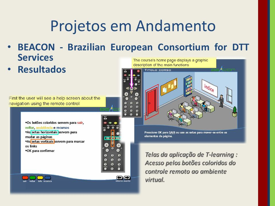 Projetos em Andamento BEACON - Brazilian European Consortium for DTT Services. Resultados.