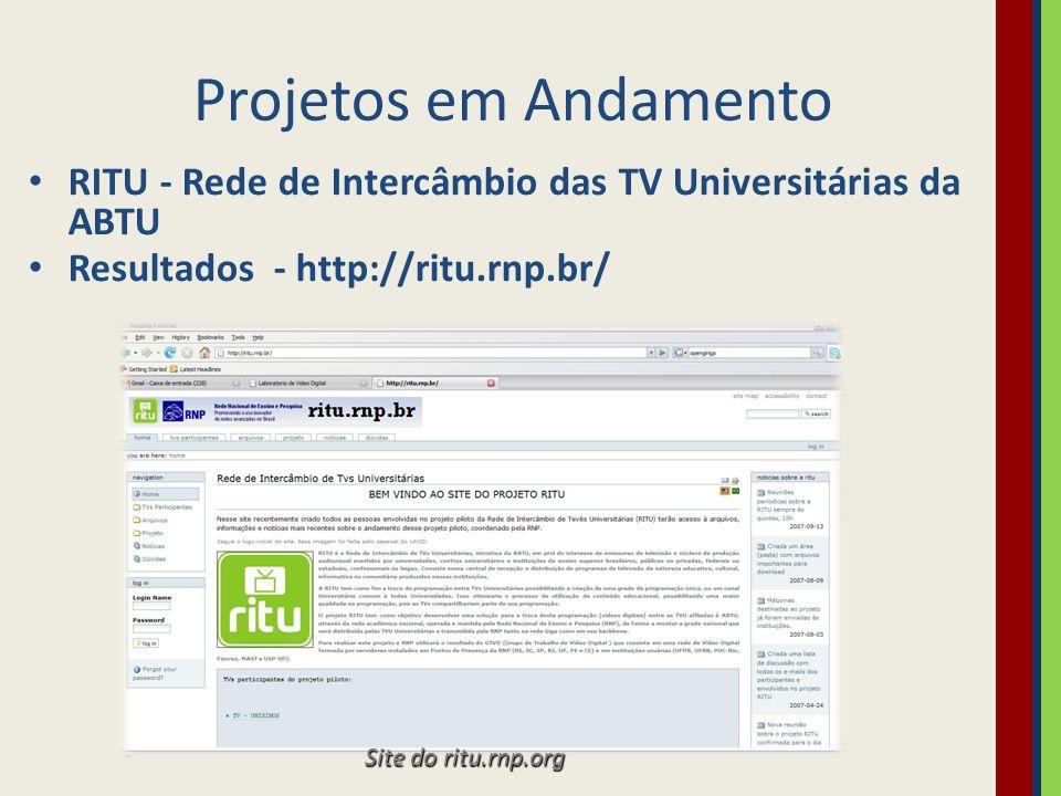 Projetos em Andamento RITU - Rede de Intercâmbio das TV Universitárias da ABTU. Resultados - http://ritu.rnp.br/