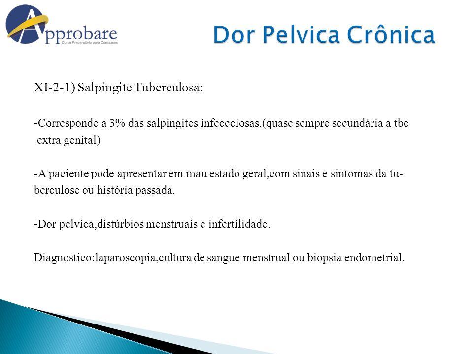Dor Pelvica Crônica XI-2-1) Salpingite Tuberculosa: