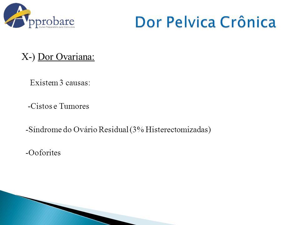 Dor Pelvica Crônica X-) Dor Ovariana: Existem 3 causas:
