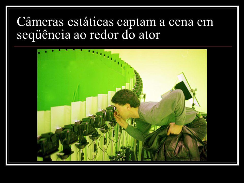 Câmeras estáticas captam a cena em seqüência ao redor do ator