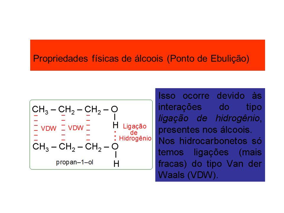 Propriedades físicas de álcoois (Ponto de Ebulição)