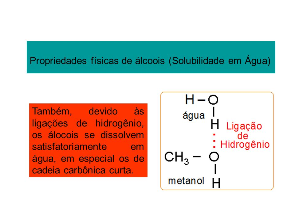 Propriedades físicas de álcoois (Solubilidade em Água)