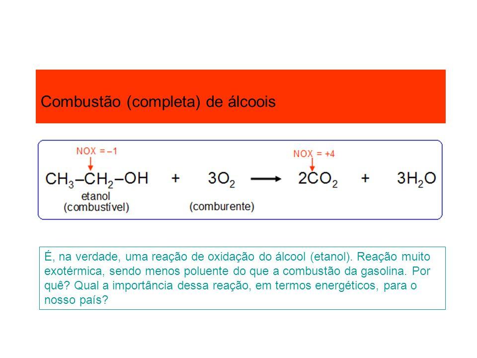 Combustão (completa) de álcoois