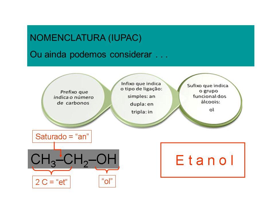 NOMENCLATURA (IUPAC) Ou ainda podemos considerar . . .