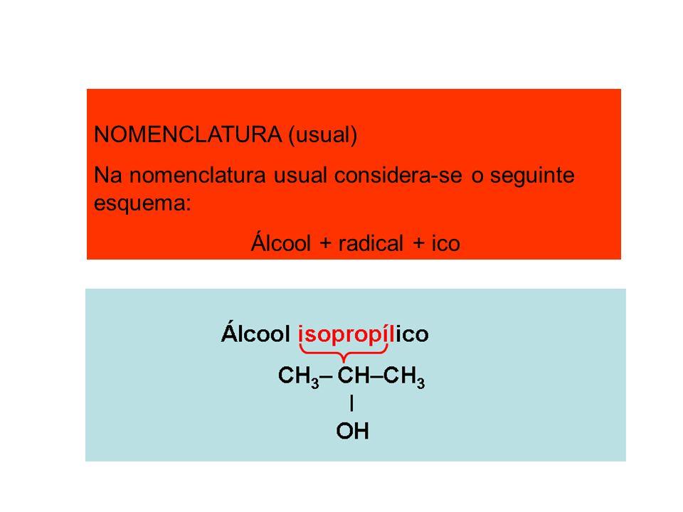 NOMENCLATURA (usual) Na nomenclatura usual considera-se o seguinte esquema: Álcool + radical + ico