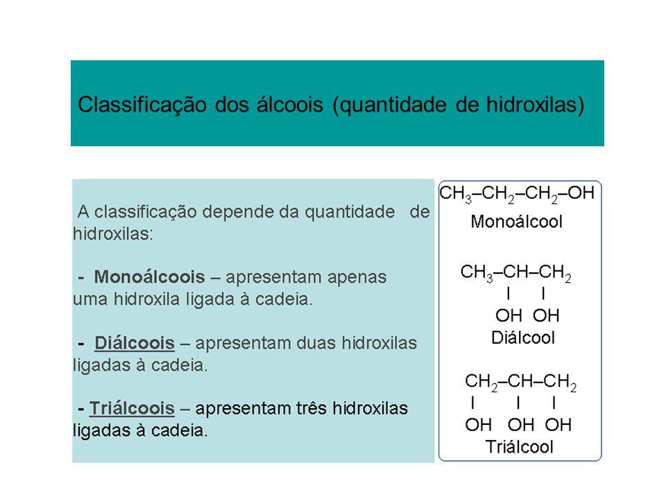 Classificação dos álcoois (quantidade de hidroxilas)