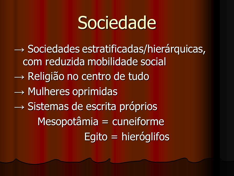 Sociedade → Sociedades estratificadas/hierárquicas, com reduzida mobilidade social. → Religião no centro de tudo.