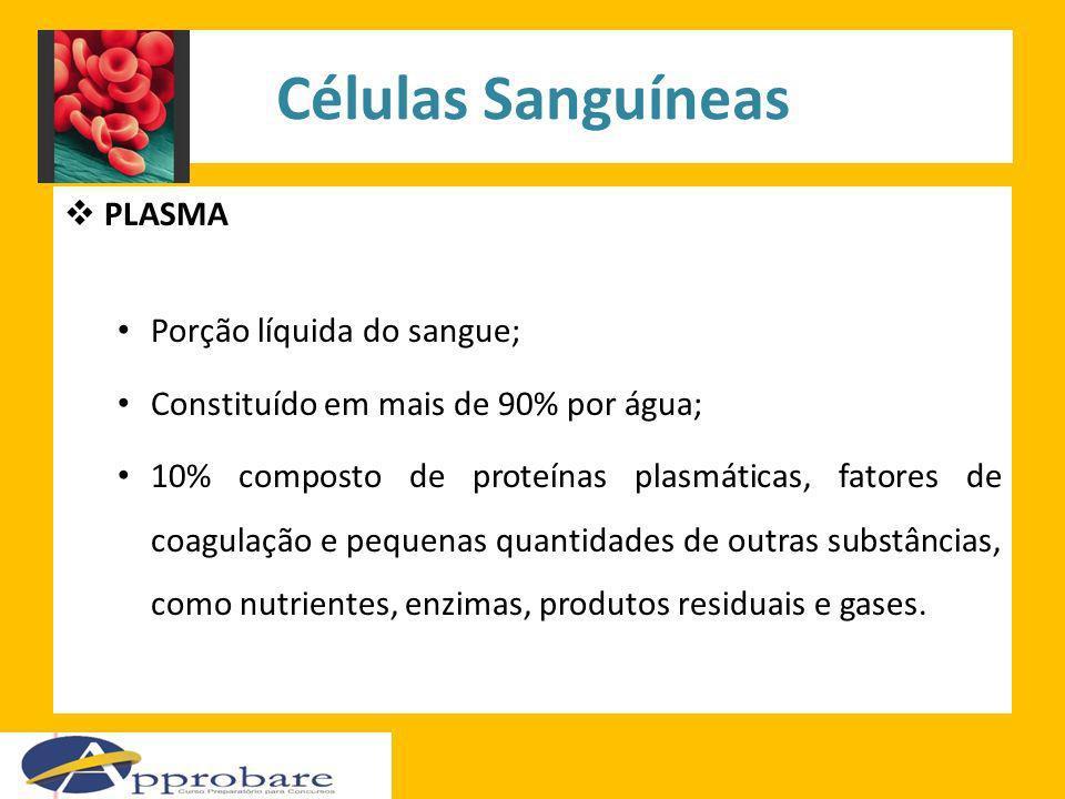 Células Sanguíneas PLASMA Porção líquida do sangue;