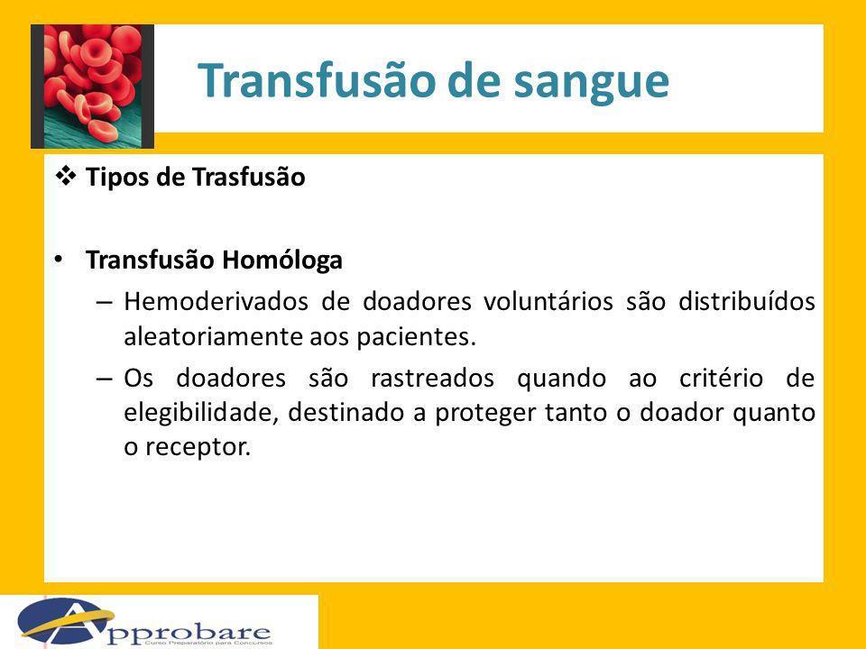 Transfusão de sangue Tipos de Trasfusão Transfusão Homóloga