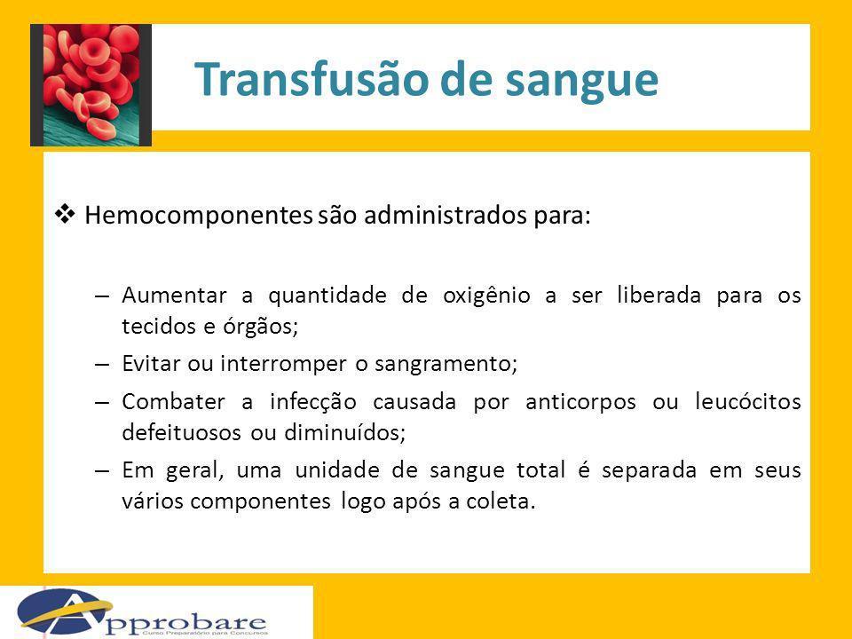 Transfusão de sangue Hemocomponentes são administrados para: