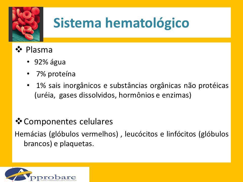 Sistema hematológico Plasma Componentes celulares 92% água 7% proteína