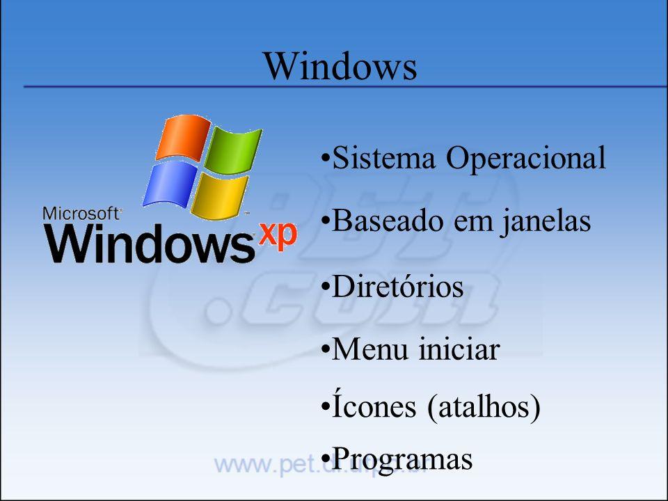 Windows Sistema Operacional Baseado em janelas Diretórios Menu iniciar