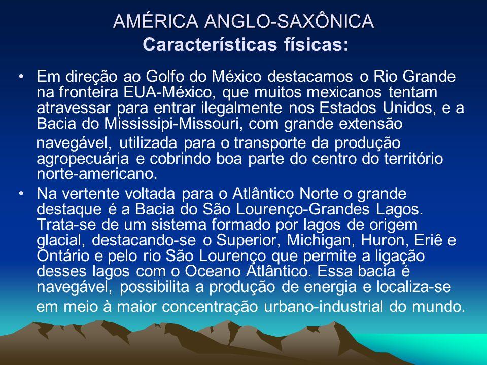 AMÉRICA ANGLO-SAXÔNICA Características físicas: