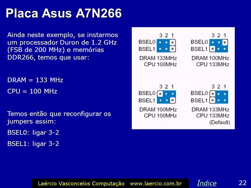Placa Asus A7N266 Ainda neste exemplo, se instarmos um processador Duron de 1.2 GHz (FSB de 200 MHz) e memórias DDR266, temos que usar: