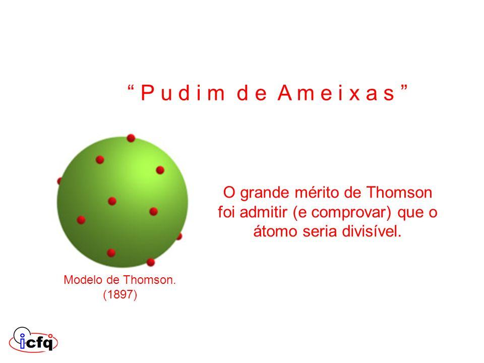 P u d i m d e A m e i x a s O grande mérito de Thomson foi admitir (e comprovar) que o átomo seria divisível.
