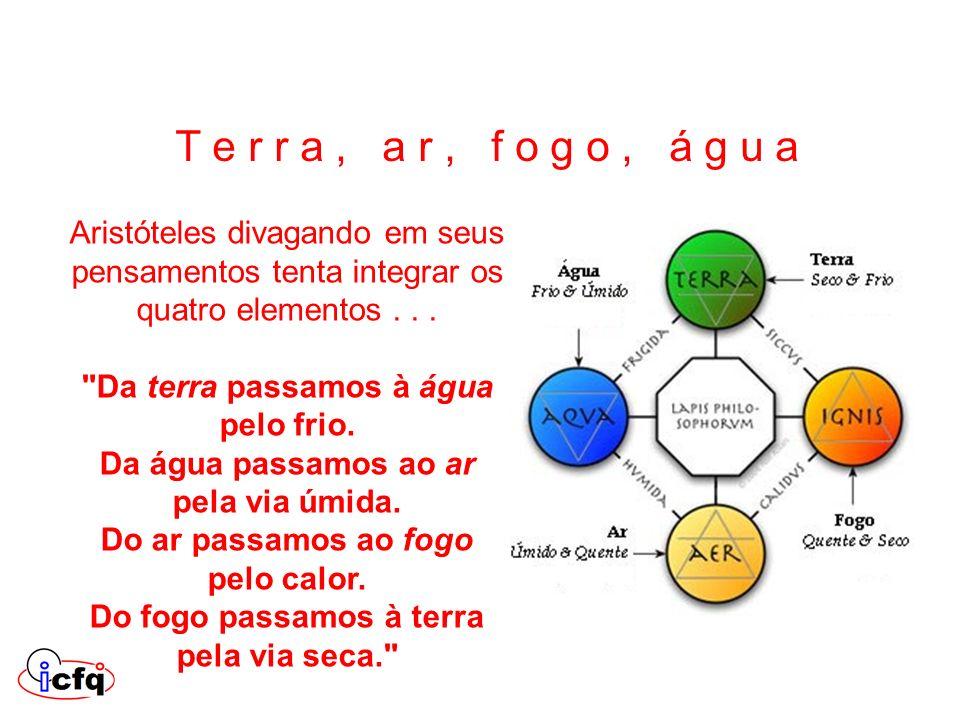 T e r r a , a r , f o g o , á g u a Aristóteles divagando em seus pensamentos tenta integrar os quatro elementos . . .