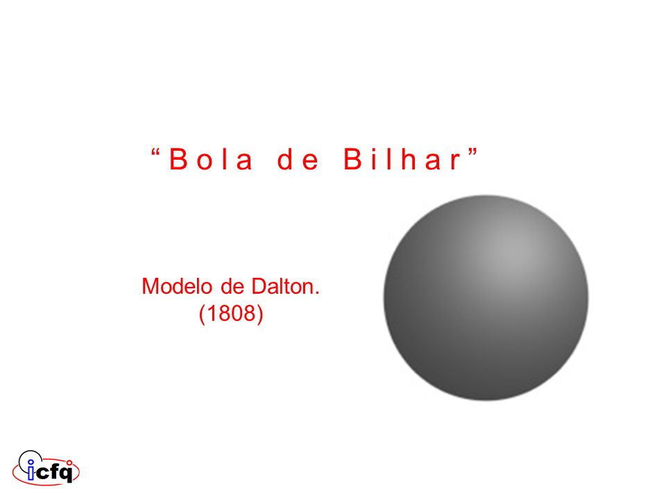 B o l a d e B i l h a r Modelo de Dalton. (1808)