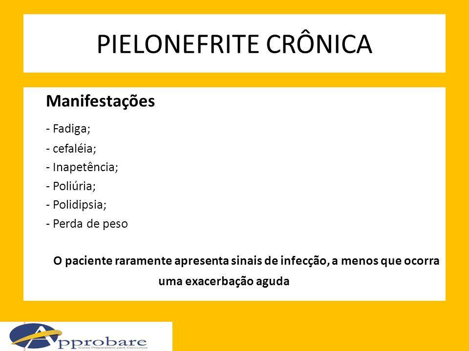 PIELONEFRITE CRÔNICA Manifestações - Fadiga; - cefaléia;