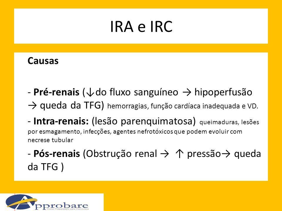 IRA e IRC Causas. - Pré-renais (↓do fluxo sanguíneo → hipoperfusão → queda da TFG) hemorragias, função cardíaca inadequada e VD.