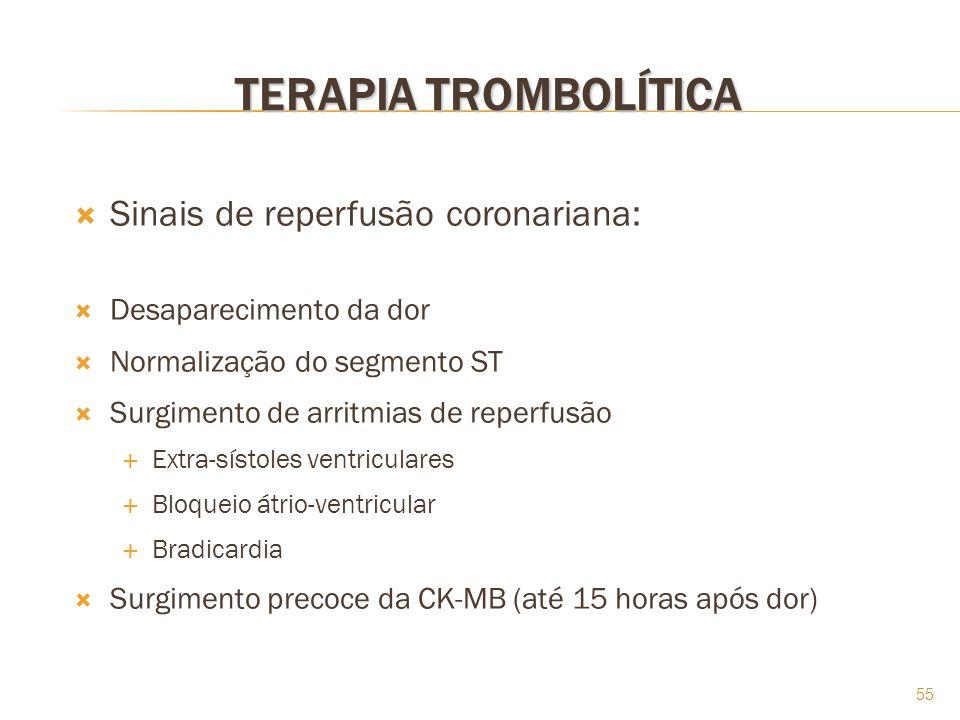 TERAPIA TROMBOLÍTICA Sinais de reperfusão coronariana: