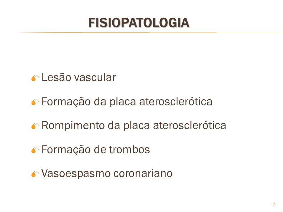 FISIOPATOLOGIA Lesão vascular Formação da placa aterosclerótica