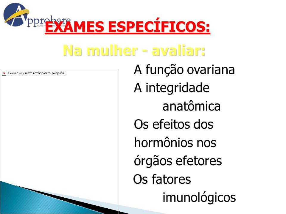 EXAMES ESPECÍFICOS: Na mulher - avaliar: A função ovariana