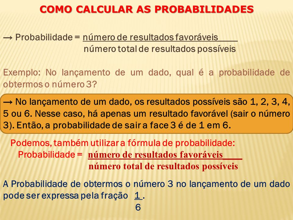 COMO CALCULAR AS PROBABILIDADES