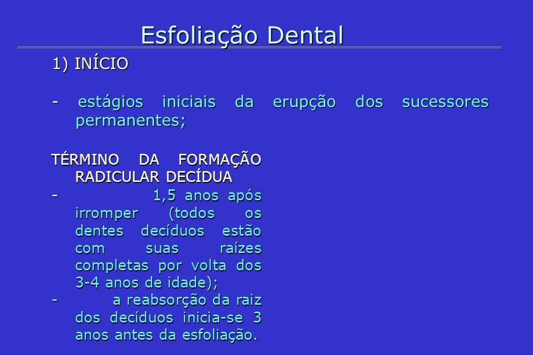 Esfoliação Dental 1) INÍCIO
