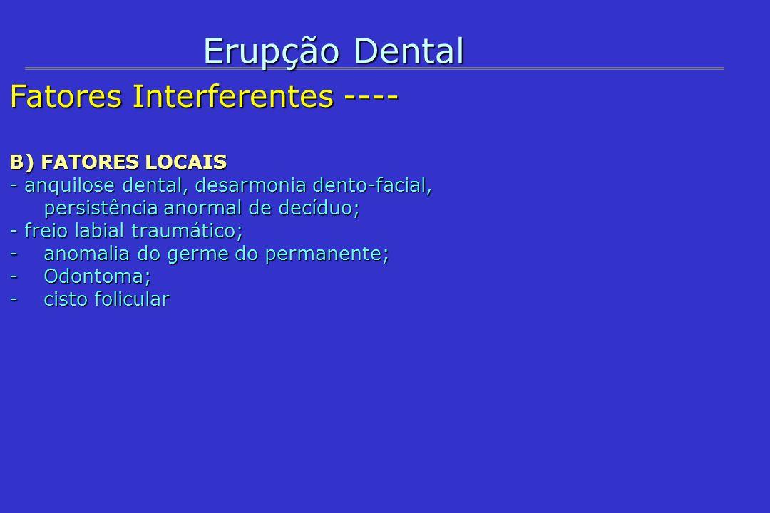 Erupção Dental Fatores Interferentes ---- B) FATORES LOCAIS